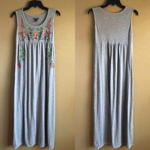 Gray Embroidered Soft Cotton Maxi Dress Size Small